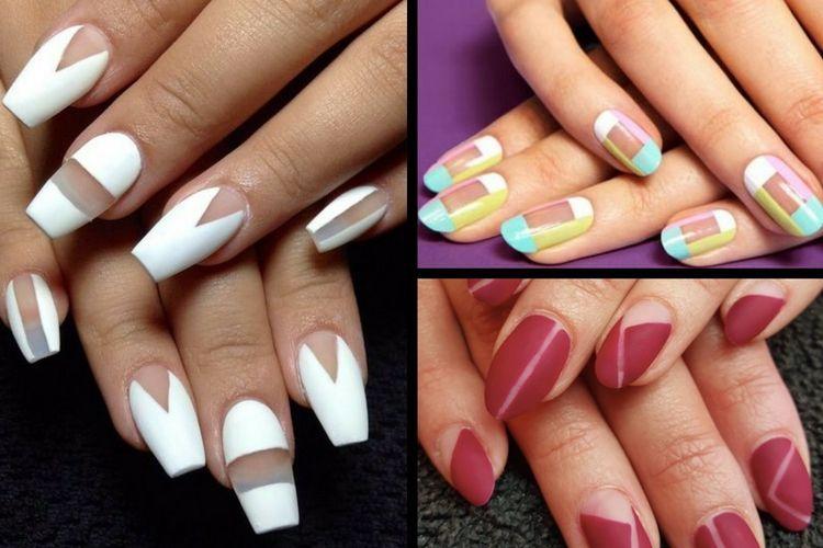La manucure negative space pour des ongles géométriques