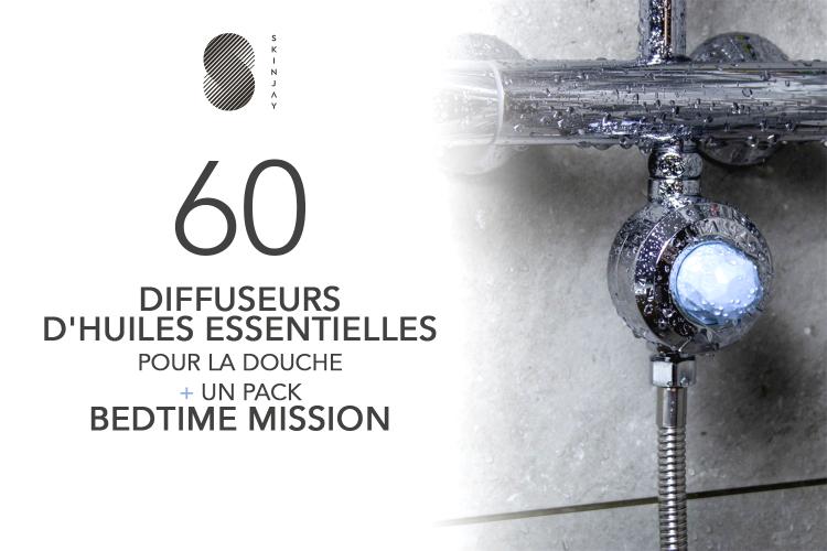 60 DIFFUSEURS D'HUILES ESSENTIELLES POUR LA DOUCHE ET SON PACK BEDTIME MISSION de SKINJAY à tester