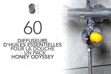 60 DIFFUSEURS D'HUILES ESSENTIELLES POUR LA DOUCHE ET SON PACK HONEY ODYSSEY de SKINJAY à tester