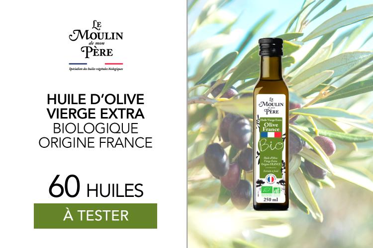 60 Huile d'olive vierge extra biologique origine France de Le Moulin de mon Père à tester