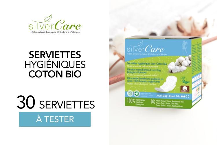 30 Serviettes hygiéniques jour en coton bio Silvercare