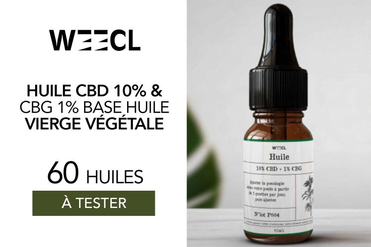 Huiles Weecl 10% CBD + 1% CBG : 60 huiles à tester !