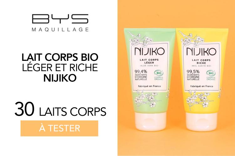 Laits Corps Bio Nijiko de BYS : 30 laits à tester !
