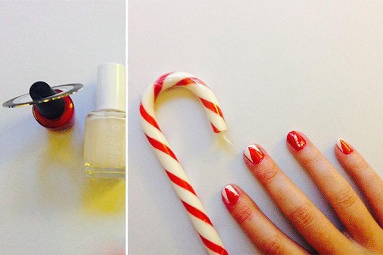 Nail Art de Noël blanc et rouge