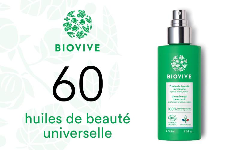 60 Huiles de beauté universelle bio de Biovive à tester
