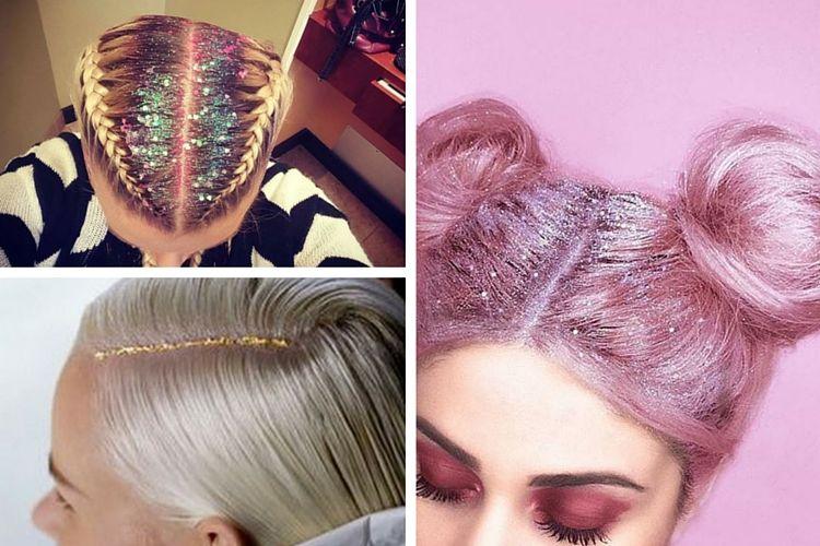 Le Glitter Roots, la tendance pailletée des cheveux pour l'hiver