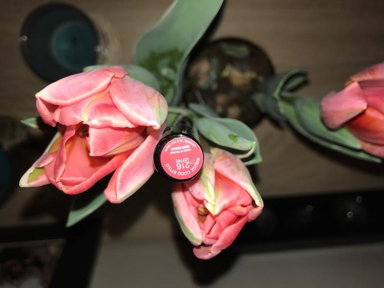 Swatch Rouge Coco Stylo Le Rouge Brillant Soin et Couleur, Chanel