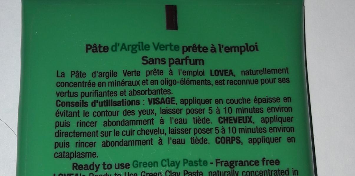 Swatch Pâte d'Argile Purifiante L'Argile Verte, Lovea