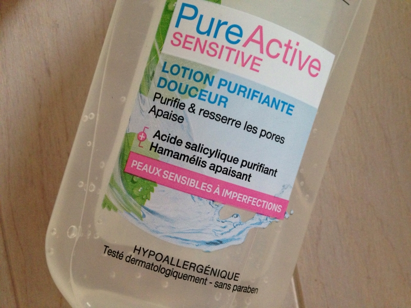 Swatch Lotion Garnier pure active sensitive, Garnier