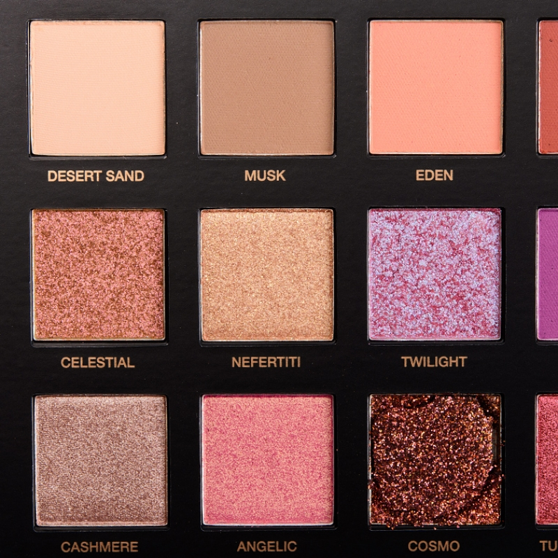 Swatch Textured Shadows Palette Rose Gold Edition Palette de fards à paupières, Huda Beauty