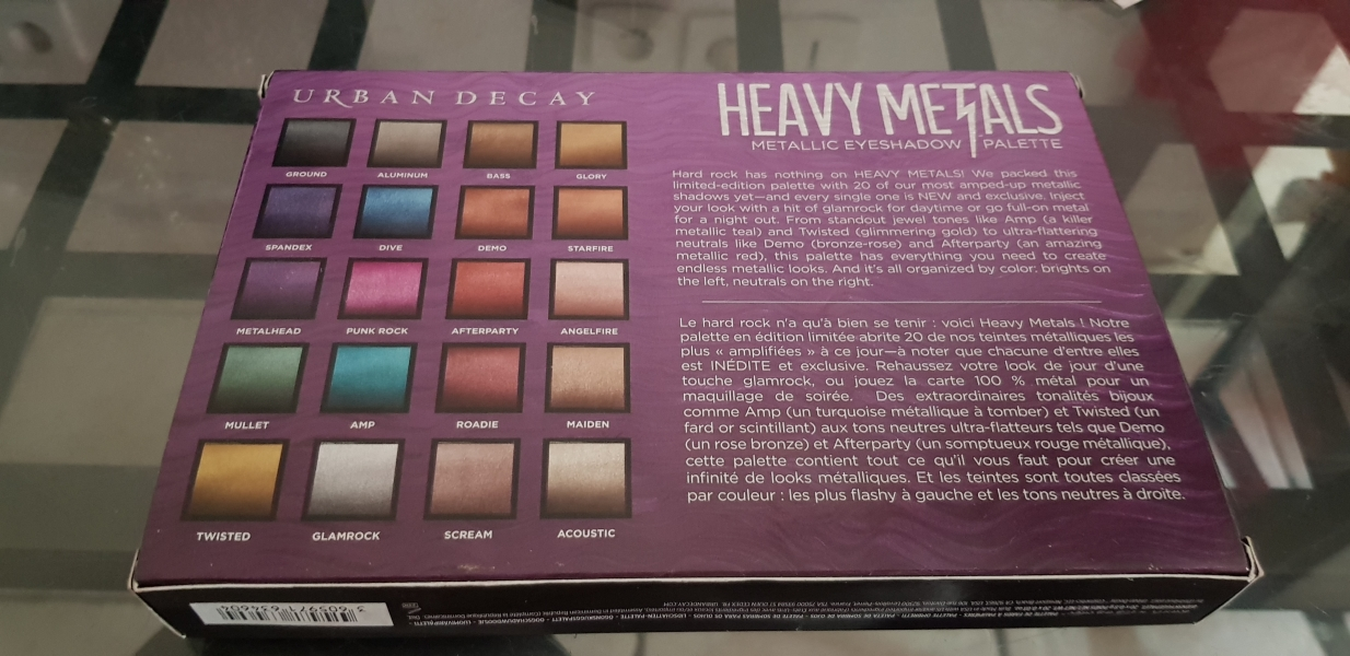 Swatch Heavy metals metallic eyeshadow palette, Urban Decay