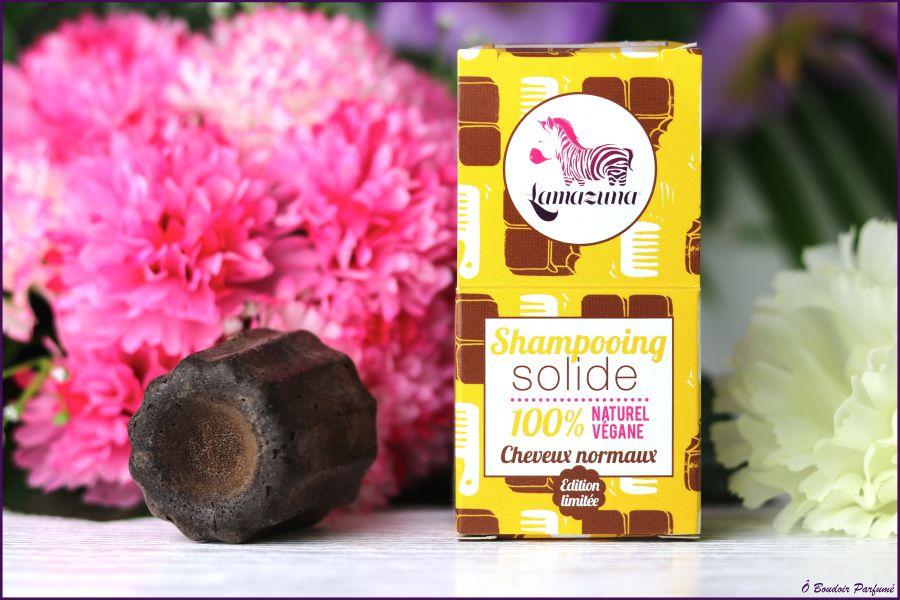 Swatch Shampoing solide au chocolat, Lamazuna