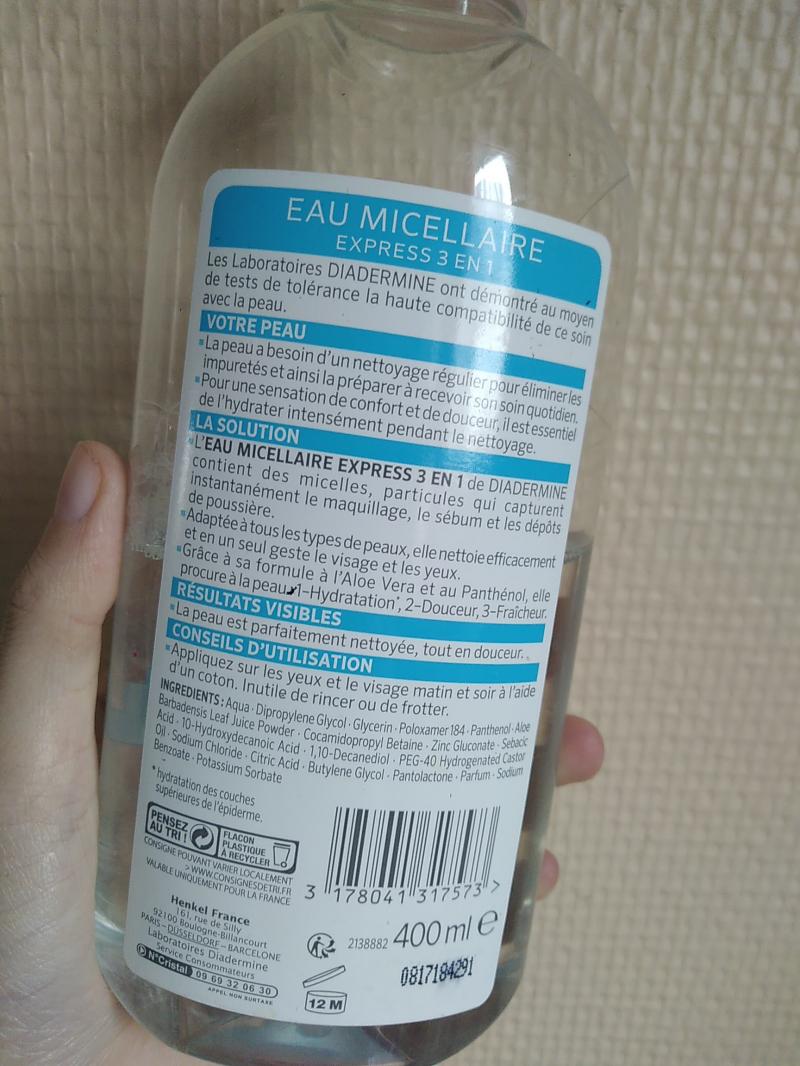 Swatch Eau micellaire express 3en1, Diadermine