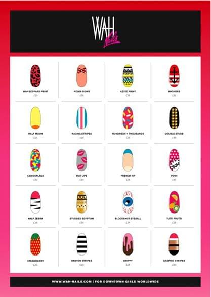 menu wah nails londres