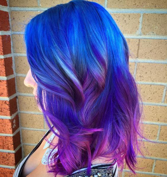 Coloration cheveux couleur bleu
