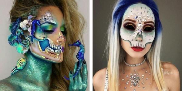 Maquillage de tete de mort maquillage dia de los muertos - Maquillage halloween tete de mort mexicaine ...